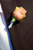 Ping rose on a groom's coat royalty free stock photos