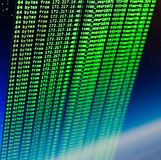 Ping of site using UNIX bash shell. Green code in command line interface. Blue space background royalty free stock image