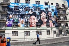 Ping Yuen Mural in Chinatown San Francisco Lizenzfreie Stockbilder