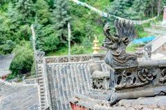 PINGAN, CHINA - Jul 9 2014: Roof of Shazong Ritod Monastery(Xiaz Stock Photography