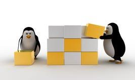 pingüino 3d que hace el cubo grande de la pequeña plata y del concepto de oro de los cubos Fotografía de archivo