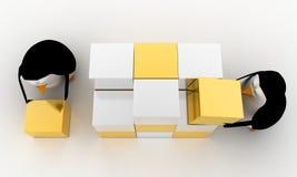 pingüino 3d que hace el cubo grande de la pequeña plata y del concepto de oro de los cubos Foto de archivo libre de regalías