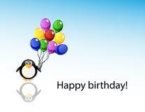 Pingüino de la historieta del vector con los globos Imagen de archivo