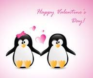 Pingüinos del saludo de la tarjeta del día de San Valentín Fotografía de archivo