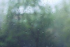 Pingos de chuva em um vidro de janela Foto de Stock Royalty Free