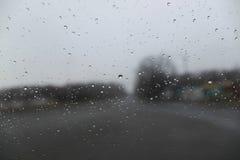 Pingos de chuva no close up de vidro Em árvores borradas e em casas de um fundo foto de stock