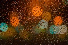 Pingos de chuva no vidro Imagens de Stock Royalty Free