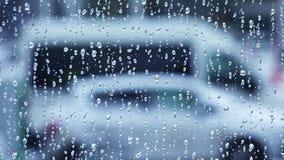 Pingos de chuva no vidro de indicador 4K Imagem de Stock Royalty Free