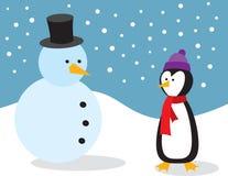 Pingouin avec le bonhomme de neige illustration de vecteur