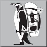 Pingouin avec le sac à dos illustration libre de droits