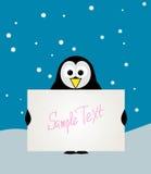 Pingouin avec le signe blanc. Image libre de droits