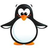 Pingouin blanc noir de sourire de bande dessinée mignonne heureuse avec le bec orange illustration stock