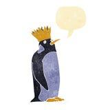 pingouin d'empereur de bande dessinée avec la bulle de la parole Images libres de droits