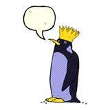 pingouin d'empereur de bande dessinée avec la bulle de la parole Image libre de droits