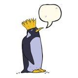 pingouin d'empereur de bande dessinée avec la bulle de la parole Photographie stock libre de droits