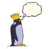 pingouin d'empereur de bande dessinée avec la bulle de pensée Image libre de droits
