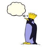 pingouin d'empereur de bande dessinée avec la bulle de pensée Photographie stock