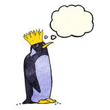 pingouin d'empereur de bande dessinée avec la bulle de pensée Photo stock