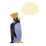 pingouin d'empereur de bande dessinée avec la bulle de pensée Images stock