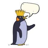 pingouin d'empereur de bande dessinée ondulant avec la bulle de la parole Photos libres de droits