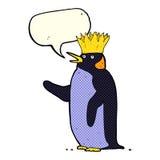 pingouin d'empereur de bande dessinée ondulant avec la bulle de la parole Image libre de droits