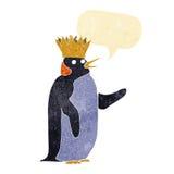 pingouin d'empereur de bande dessinée ondulant avec la bulle de la parole Photo stock