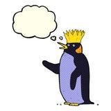 pingouin d'empereur de bande dessinée ondulant avec la bulle de pensée Image stock
