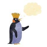 pingouin d'empereur de bande dessinée ondulant avec la bulle de pensée Photographie stock