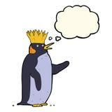 pingouin d'empereur de bande dessinée ondulant avec la bulle de pensée Photos stock