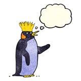 pingouin d'empereur de bande dessinée ondulant avec la bulle de pensée Photos libres de droits