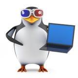 pingouin 3d en verres 3d tenant un PC d'ordinateur portable Photos libres de droits