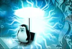 pingouin 3d se reposant en quelques vacances sous le concept de parapluie Photos libres de droits
