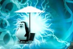 pingouin 3d se reposant en quelques vacances sous le concept de parapluie Photo libre de droits