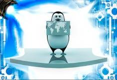 pingouin 3d tenant la carte du monde et de la position sur l'illustation de flèche Photographie stock libre de droits