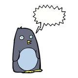 pingouin de bande dessinée avec la bulle de la parole Images stock