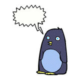 pingouin de bande dessinée avec la bulle de la parole Photo stock