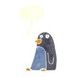 pingouin de bande dessinée avec la bulle de la parole Photographie stock