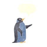 pingouin de bande dessinée avec la bulle de la parole Images libres de droits