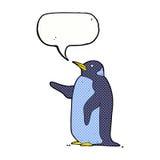 pingouin de bande dessinée avec la bulle de la parole Image stock