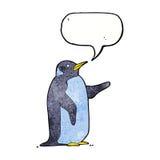 pingouin de bande dessinée avec la bulle de la parole Image libre de droits