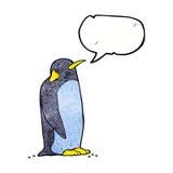 pingouin de bande dessinée avec la bulle de la parole Photographie stock libre de droits