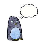 pingouin de bande dessinée avec la bulle de pensée Photo stock