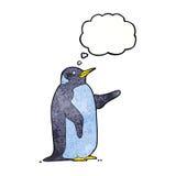 pingouin de bande dessinée avec la bulle de pensée Photos stock
