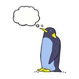 pingouin de bande dessinée avec la bulle de pensée Images libres de droits