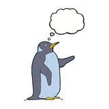 pingouin de bande dessinée avec la bulle de pensée Image stock