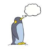 pingouin de bande dessinée avec la bulle de pensée Images stock