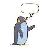 pingouin de bande dessinée ondulant avec la bulle de la parole Photo libre de droits