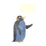 pingouin de bande dessinée ondulant avec la bulle de la parole Image libre de droits