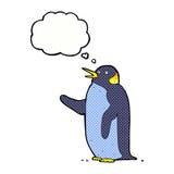 pingouin de bande dessinée ondulant avec la bulle de pensée Images libres de droits