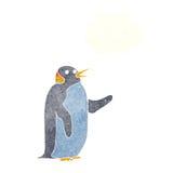 pingouin de bande dessinée ondulant avec la bulle de pensée Image stock